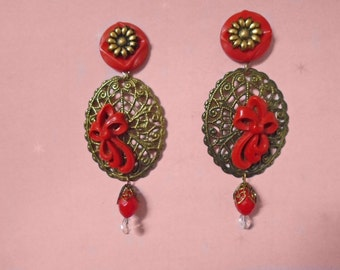 Holiday Red Statement Earrings - OOAK Made with Vintage - Long Dangles