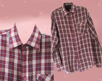 Mens Plaid Button Down Shirt - Mens 60s Casual Button Up Shirt - Vintage Long Sleeve Shirt - Mens Casual Plaid Shirt - Retro Plaid Shirt