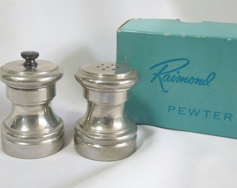Raimond Pewter Salt and Pepper Shakers Vintage in Box