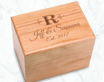 Initial Dots Recipe Box holds 4x6 inch recipe cards monogram birthday, chef kitchen, bridal shower box, Heirloom Quality Cherry Hardwood Box