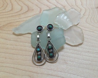 Vintage Sterling Silver and Turquoise Petit Point or Snake Eye Post Dangle Earrings