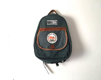 vintage JANSPORT style forest GREEN leather vintage 90s BACKPACK day pack with patches