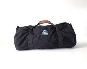 vintage 90s canvas & leather DUFFEL bag GYM bag tote athletic sports bag