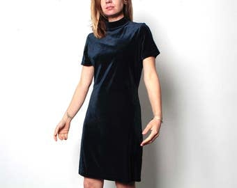 mock turtleneck 90s velvet GRUNGE navy blue goth petite short sleeve dress