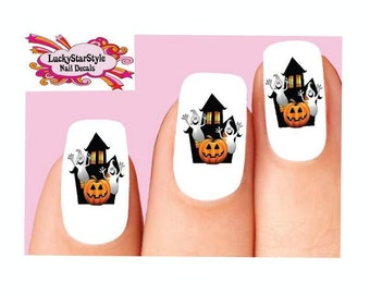 Waterslide Nail Decals Set of 20 - Halloween Haunted House with Ghost & Pumpkin