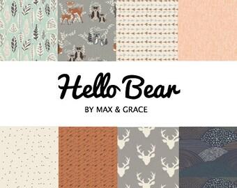 Hello Bear. You Design. Crib Bedding. Baby Bedding. Woodland Bedding Set. Gender Neutral Crib Bedding. Deer Nursery Decor. Crib Sheets.