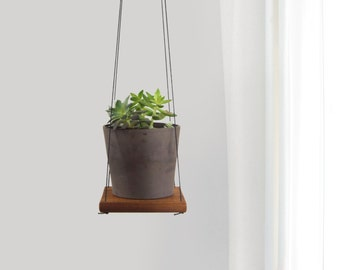 Rustic Cedar Plant Holder, Swing Shelf, Floating Shelving | Reclaimed Wood and Black Hanger | Hanging Succulent Wall Planter | Unique Gift