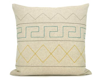 16x16 inches Aztec Geometric Pillow Case   Emerald Green, Yellow, Grey, Black and Natural Beige   Modern Decorative Throw Cushion cover