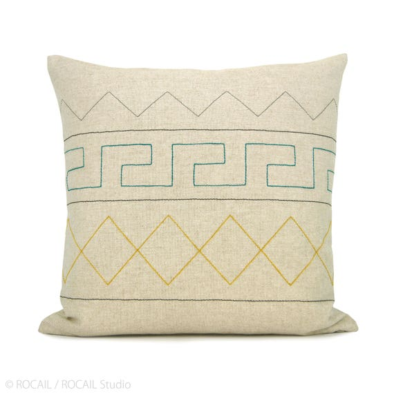 16x16 inches Aztec Geometric Pillow Case | Emerald Green, Yellow, Grey, Black and Natural Beige | Modern Decorative Throw Cushion cover