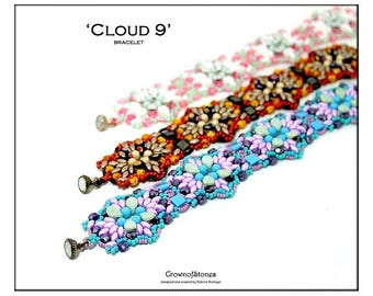 Bead pattern DIY beaded bracelet made with Tila, Pip beads, Superduos, round beads, seed beads