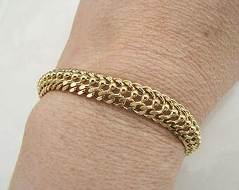 Vintage Gold Plated links Bracelet, 6.5 inches long