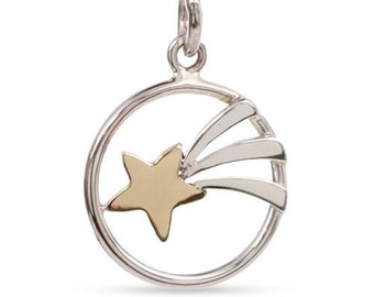 Charm Shooting Star Sterling Silver And Bronze 18.5x12mm  - 1pc High Quality Shiny (10889)/1
