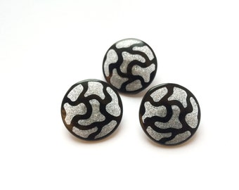 3 Black & Silver Glitter Buttons, Plastic, Shank, Vintage Buttons