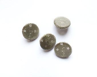 4 Metal Silver Buttons, Shank, 15mm
