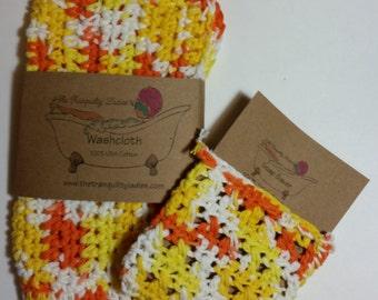Crochet Washcloth and Soap Saver Set 100 % USA Cotton Creamsicle