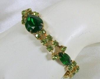 "Spring Special Sale Vintage Rhinestone Bracelet Large Emerald Green Glass Stones 7"""
