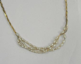 ON SALE Vintage Hobe' Necklace Delicate Faux Pearl Braided Cobra Chain Gold-Tone Dainty