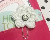 Sparkly White Crochet Flower Planner Clip