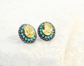 Yellow grey turquoise stud earrings | swarovski crystal stud earrings | boho stud earrings | summer jewelry | unique gift for her under 50