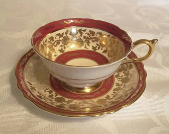Paragon Tea Cup and Saucer; Featuring A Stunning deep red/gold Pattern  circa 1939-1949 -DR