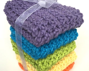 Crochet Dishcloths Washcloths - Set of 5 - Kitchen, Bathroom, Baby - Blue, Green, Purple, Yellow, Orange - 100% Cotton