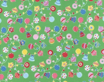Sale Flower Sugar Holiday Fabric Green Ornament Toss Lecien Fabrics Half Yard