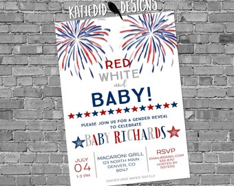 Gender reveal fireworks Patriotic invitations baby shower red white and due 4th of july birthday bunting banner BBQ party 1478  invitations