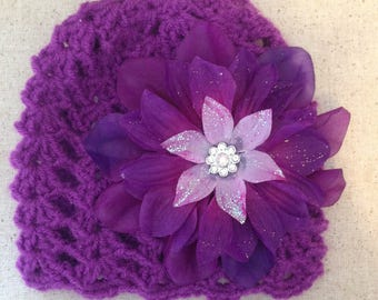 Infant, preemie, baby crochet hat with removable clip on flower