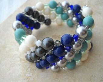 Lapis, silver, and jade Swarovski wrap bracelet: Five Little Vials - swarovski pearls, swarovski crystal, memory wire, blue silver bracelet
