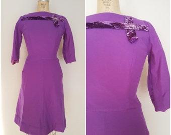 Vintage 1960s Purple Wool Dress / Winter Dress / 50s Dress / 60s Dress / Small
