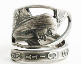 Native American Ring, Sterling Silver Spoon Ring, Kasnas City Chiefs, Kansas City Jewelry, Indian Chief, Missouri, Custom Ring Size (6454)