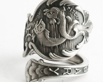 Pisces Ring, Sterling silver Spoon Ring, Double Fish Ring, Zodiac Ring, Horoscope Ring, Pisces Jewelry, Astrology Ring, Adjustable Size 6584