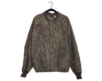Vintage Liberty Camo Real Tree Pattern Oversize Bomber Jacket 100% Cotton, Made in USA - XL