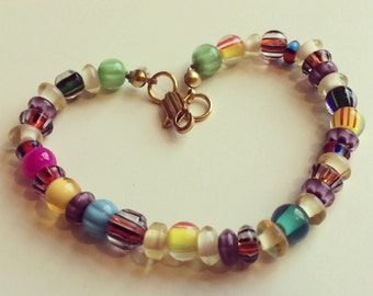 Colorful Glass Blown Beaded Bracelet with Gold Clasp / Gift For Her / Rainbow Colored Jewelry / Valentine's Day Gift