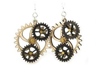 Kinetic Triple Moving Gear Earrings #5005B