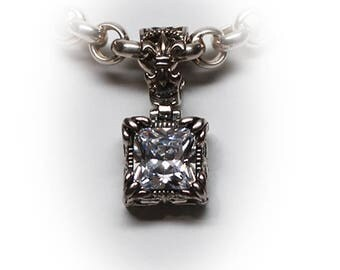 Gorgeous Sterling Silver Princess Cut Diamond Simulant Pendant with Heavy 18 inch Milor Chain