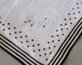 Antique French Large Fine Linen Handkerchief Unused With Black Line & Dot Detail Hand Embroidered Marie