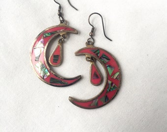 Crescent Moondrop Mother of Pearl and Pink Enamel Alpaca Silver Earrings