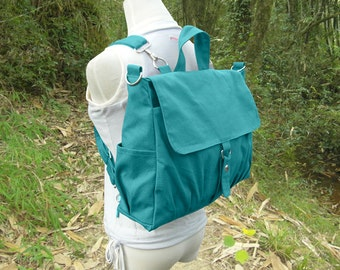 Turquoise canvas backpack, canvas messenger bag for women and men, large diaper bag for mother
