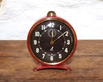 Vintage French Alarm Clock French Jaz Red