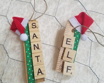 Santa and Elf Scrabble Tile Ornament -  Vintage Yardstick Ornament - Scrabble Tile Ornament - Red and Green - Santa Hat