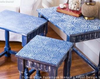 Tribal Batik Pattern Painted Furniture Stencil - African, Asian, Eastern, Bohemian Patterns