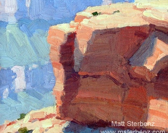 "Grand Canyon Original Plein Air Oil Painting ""Poor Shelter From The Sun"""