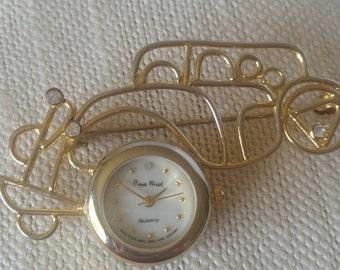 Vintage 1980s Pierre Nicol wire car pin brooch watch.