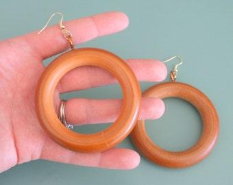 The WOODEN Handmade Hippie Earrings....big. pierced ears. kitsch. retro. costume jewelry. mod. wooden earrings. brown. twiggy. oversized