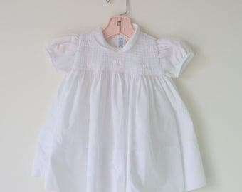 1960s Vintage FELTMAN BROS Dainty Sweet Girls Dress..size 9 months..ruffles. lace. peasant. retro. kids. children. white. pink. flower girl