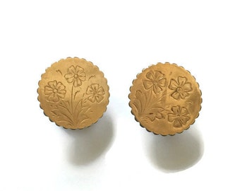 Victorian Engraved Gold Filled Cufflinks forget-me-not Floral Design Wedding Jewelry