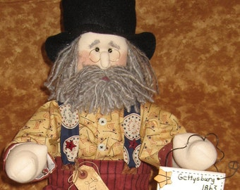 Art Doll/ USA Uncle Sam Doll ~ Poseable 18 Inches Tall Lincoln Soft Sculptured Doll ~ Patriotic/American Doll