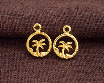 2 of 925 Sterling Silver 24k Gold Vermeil Style Palm Tree Charms 10mm.   :vm1019