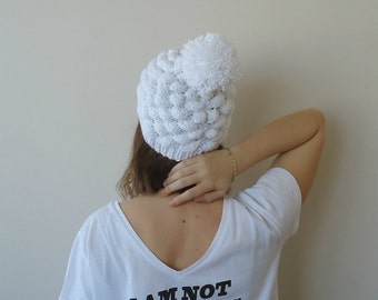 WHİTE beanie hat for women, Hand knitted hat women, Winter hats, Slouchy beanie with big pompom